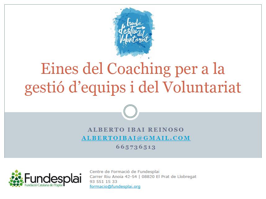 Eines del Coaching per a la gestió d'equips - Alberto Ibai (FUNDESPLAI)